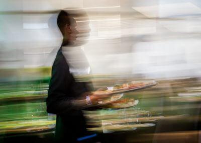 man serving food